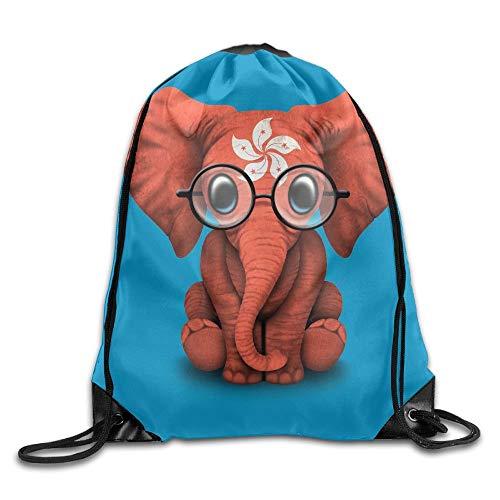 Etryrt Prämie Turnbeutel,Sporttaschen, Baby Elephant Glasses Hong Kong Flag Unisex Outdoor Gym Sack Bag Sport Drawstring Backpack Bag
