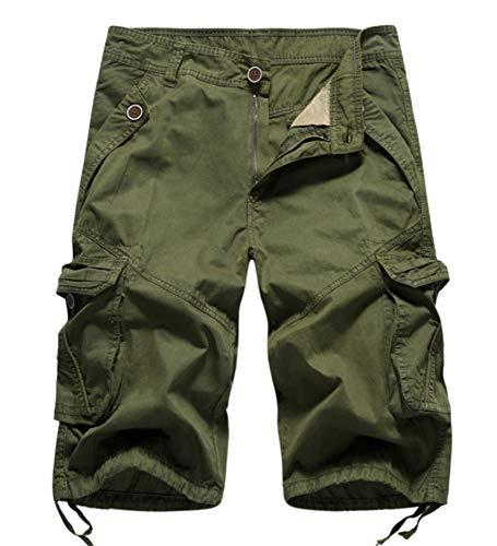 WSLCN Homme Rétro Baggy Cargo Camo Shorts Outdoor Casual Combat Sport Shorts Coton Pantacourt Vert armé FR 28W (Asie 30W)