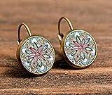 Pendientes de joyería de yoga, símbolo om budismo zen único un par de mandala flor pendiente de cristal henna hechos...