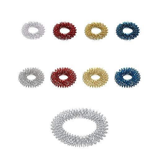 Massageringe Yin Yang - zur Fingermassage oder Zehenmassage aus Edelstahl   9 Ringe   Mix-Tüte mit verschiedenen Stärken, Durchmessern und Farben   ArthroRoller