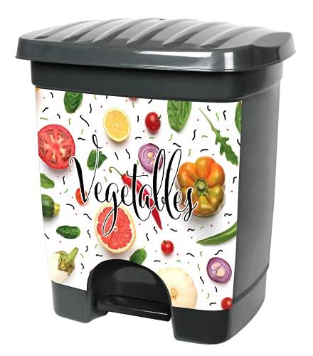 TIENDA EURASIA® Cubo de Basura con Pedal para Cocina 35 L - Diseños Originales - Fabricado en Plástico Reciclado - Medidas 40 x 33 x 47 cm (Vegetables)