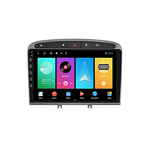 Yuahwyehe Autoestereo para Peugeot 408 2010-2016 Pantalla Táctil Capacitiva Autorradio GPS Navegación Cámara De Respaldo Estéreo De Coche Audio FM/Am/RDS Radio Video Player SWC,M200