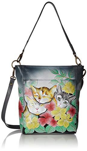 Anna by Anuschka Damen Handtasche aus echtem Leder, groß, handbemalt, Original Kunstwerk, Reißverschluss, (Three Kittens), Einheitsgröße