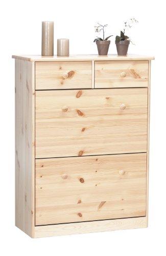 Steens 17818819 Mario - Zapatero de madera de pino maciza barnizada (103 x 78 x 35 cm)