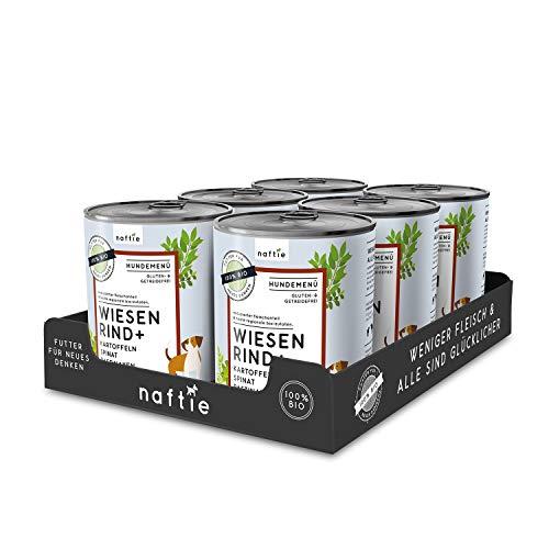 naftie Bio Hundefutter Wiesen Rind+ | Premium Nassfutter Menü mit Rindfleisch, Kartoffeln, Spinat & Pastinaken | Getreidefrei | Glutenfrei | purinarmes Futter | Diätfutter | Sparpaket 6X 800g Dosen