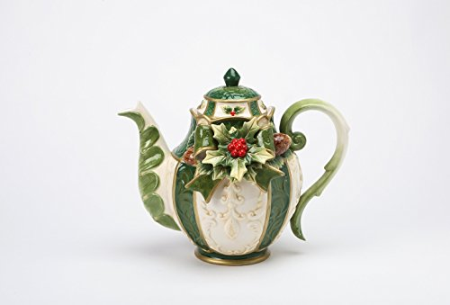 Cosmos Gifts 10309 Fine Ceramic Christmas Emerald Green Holidays Holly Berry with Pine Cone Design Teapot, 9 1/4' L