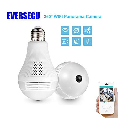 360° Panoramic View WiFi IP Bulb Camera with FishEye Lens 360 Degree 3D VR Panoramic View Home Security CCTV Camera Wirelss Security Camera (2.0 Megapixel)