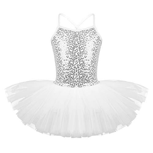 FEESHOW - Vestido de baile de ballet con lentejuelas para niños y niñas