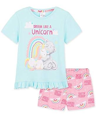 Me To You Pijama Niña, Pijama Unicornio Niña Corto con el Osito Tatty Teddy, Ropa de Niña para Dormir, Regalos para Niñas Edad 2-14 Años (Azul/Rosa, 7-8 años)