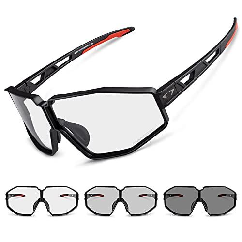 AALK Gafas de ciclismo fotocromáticas polarizadas UV400 protección TR90 marco completo bicicleta carretera deportes gafas de sol para hombres mujeres Mtb seguridad gafas