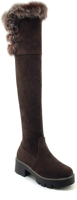 ZPL Stiefel Damen Oberschenkel Hohe Stiefel Overknee Schenkelhoch Über Das Das Das Knie Stiefel Low Blockabsatz Schwarz Reißverschluss Wildleder Mode Warmhalten Herbst Winter Schuhe Größe 35-42, braun  8a249d