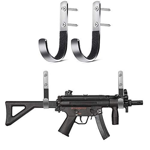 ACEXIER 1 par de soportes acolchados para montaje en pared para pistola, gancho en J, escopeta de rifle, juego de perchas de servicio pesado, soporte antiarañazos de acero inoxidable para pistola dura