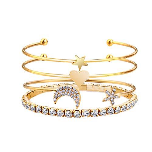 THWJSH 4-teiliges Set geschichtetes verstellbares Damen herzförmiges Sternarmband Kristallarmband/vollgebohrtes offenes Armband Damenarmband Goldsilber-gold