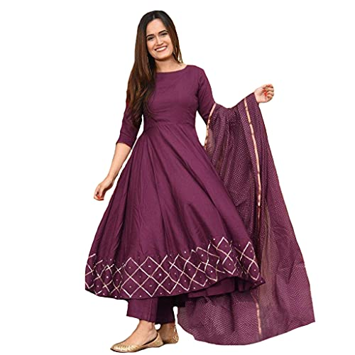 GoSriKi Women's Rayon Anarkali Kurta with Dupatta (KUMT-Dress-Magenta Medium)