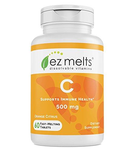 EZ Melts C for Immune Support, 500 mg, Sublingual Vitamins, Vegan, Zero Sugar, Natural Orange Flavor, 60 Fast Dissolve Tablets