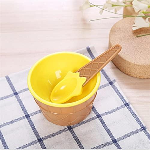 Nuevo color Cuencos y cucharas para helados Regalo para niños Postre Helado Taza Helado Herramienta Taza Cuchara de plástico de alta calidad-Federación de Rusia, amarillo