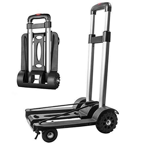 Sackkarre Faltbar, Transportkarre Klappbar/Alu-Sackkarre Mini/Leichtgewichtiger Gepäckwagen/Aluminium Transport und Handkarre für Umzug oder Getränkekisten (L)