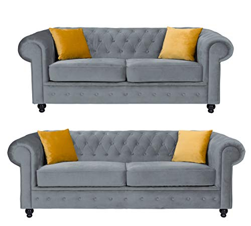 Sofas and More Hilton Chesterfield style Grey French Velvet fabric 3+2 Seater sofa set (3+2 Seater)