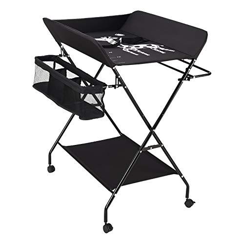 Cambiador plegable para bebé, con compartimentos de almacenamiento, cinturón de seguridad, se utiliza como cambiador y mesa de masaje para bebés (polea negra)
