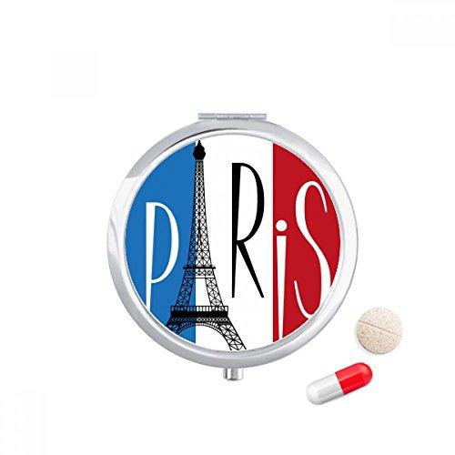 DIYthinker Nationale Vlag Frankrijk Eiffeltoren Parijs Travel Pocket Pill case Medicine Drug Storage Box Dispenser Mirror Gift