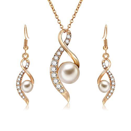 Parure di orecchini e collana in oro 18 k placcato e perla d'acqua dolce