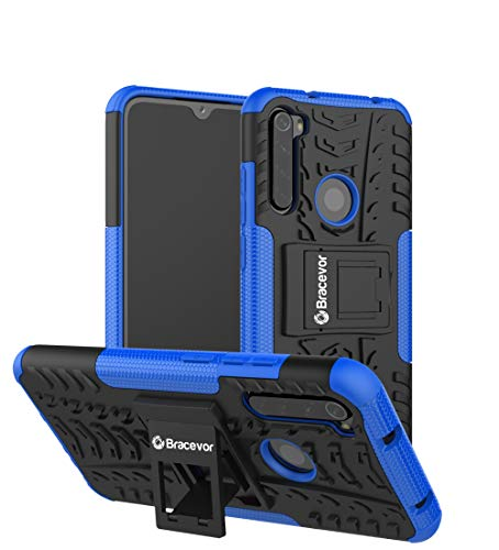 Bracevor Hybrid Back Cover Kickstand Case for Xiaomi Redmi Note 8 - Blue   Rugged Defender
