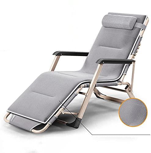 Zero Gravity Chair - Sedia da giardino con schienale reclinabile e imbottita, capacità 158,8 kg, regolabile, con portabicchieri, poggiatesta, per esterni, campeggio, colore: grigio