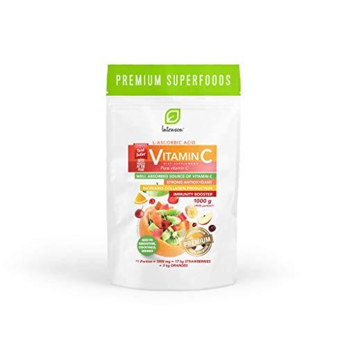 Intenson Vitamin C Powder Förpackning om 1 x 1000g - C-Vitamin Pulver – Antioxidant – Askorbinsyra – Vit C – Kosttillskott - 1kg