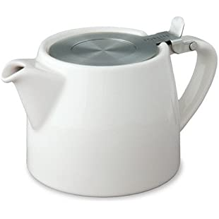 Forlife Stump Teapot with Infuser 18oz (White) plus a sample of Mystic Brew's Loose Leaf Tea.