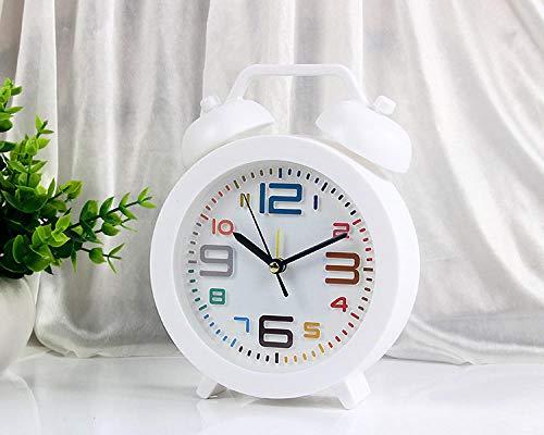 Reloj Despertador Reloj Despertador Creativo Encantador Dormitorio de cabecera silencioso niños s Mini Reloj Despertador Personal Relojes de Alarma multifunción-Blanco