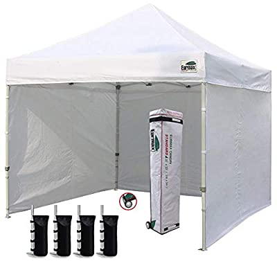 Eurmax 10'x10' Ez Pop-up Canopy Tent with 4 Removable Side Walls and Roller Bag, Bonus 4 SandBags, White
