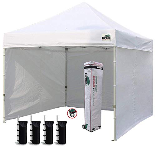 Eurmax 10'x10' Ez Pop-up Canopy Tent Commercial Instant Canopies Party Tent with 4 Removable Zipper End Side Walls and Roller Bag, Bonus 4 SandBags (White)
