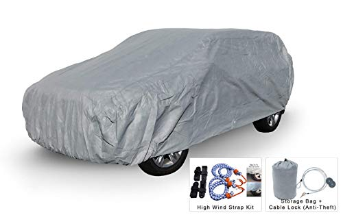 Weatherproof SUV Car Cover Compatible with Chevrolet Suburban 1992-1999 - 5L Outdoor & Indoor - Protect from Rain, Snow, Hail, UV Rays, Sun - Fleece Lining - Anti-Theft Cable Lock, Bag & Wind Straps