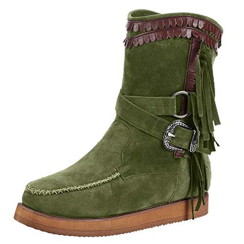 WUSIKY Stiefeletten Damen Bootsschuhe Boots Geschenk für Frauen Fashion lässig runde Kappe Wohnungen Retro Fransen Kurze Stiefeletten Flache Schuhe (Grün, 37 EU)