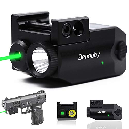 Benobby Green Laser Sight,300 lm Strobe Flashlight + Laser Sight for Pistol,Compact Rail Mount Tactical Flashlight, USB Rechargeable WeaponLight with LED and Green Laser, for Pistols/Handguns (Black)