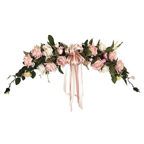 Kerstmis Gift Klassieke Kunstmatige Rose Bloemen Voordeur Krans Hartvormige Garland voor Thuis Bruiloft Party Decoratie, Bloemen Swag Roze