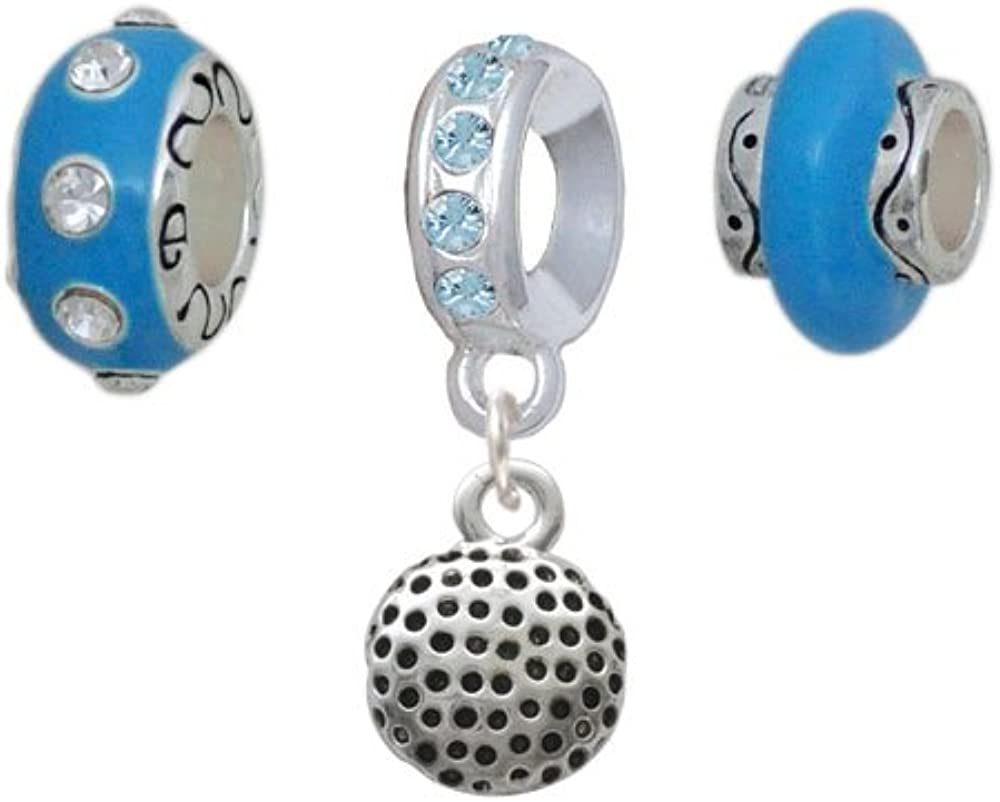 Silvertone Max 60% OFF Golf Ball Hot Blue of Ranking TOP17 3 Charm Beads Set