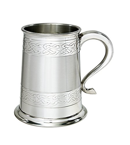Wentworth Pewter Embossed celtic bands 1 pint pewter tankard, beer mug, birthday , fathers day, christmas, wedding gift, Engravable with own message
