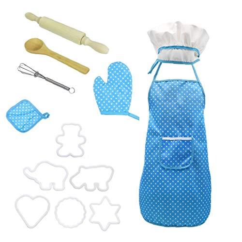 Hiinice Chef-Set für Kinder Küche Role Play Koch Kostüm blau mit Schürze Chef-Hut Utensilien Kochen Mitt