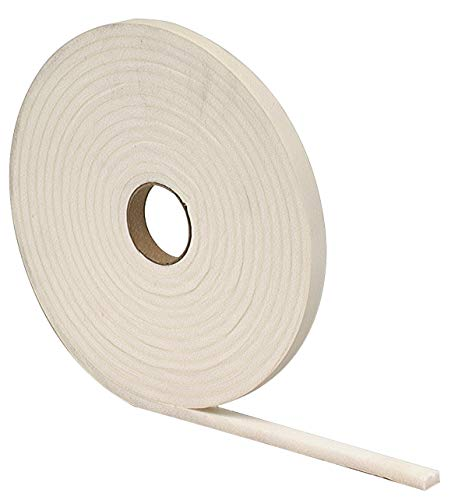 M-D Building Products 2758 M-D 0 Closed-Cell Weather-Strip, 1/2 in W X 17 Ft L X 1/4 in T, White, Pack of 5