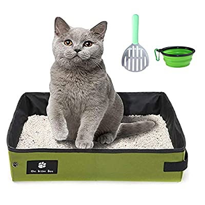 Portable Cat Litter Box for Traveling - Foldable Soft Waterproof Lightweight Cat Little Tray with 1 Collapsible Bowl and 1 Scoop (Green, 40x30cm)