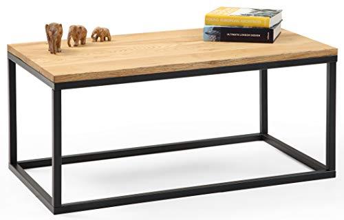 Gozos Design Couctisch Malaga – Eiche Massivholz, geölt, 100 x 55 cm, rechteckig, Industrial-Stil mit Metall, schwarz, Echtholz
