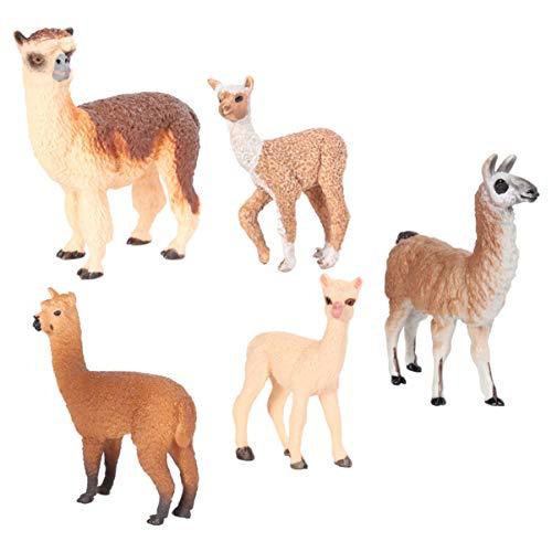 BESPORTBLE 5pcs Alpaka Figuren Miniatur Alpaka Realistische Waldtiere Modell Spielzeug Mikrolandschaft Feengarten Dekoration Zubehör Kinder Geschenk