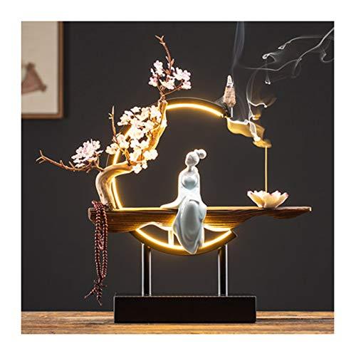 DTKJ Chinese Back-Flowing Fragrant Peach Blossom Bonsai Incense Burner with USB Led lamp Ring Zen Crafts for Home, Desktop Decoration, Study