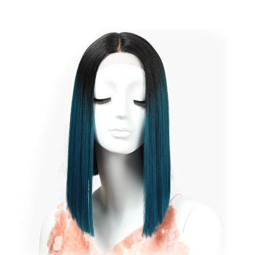 Straight Gradient Wijn Blue 14 inch Pruiken Vrouwelijk hoge temperatuur Fiber Halloween Cosplay synthetisch haar pruik for vrouwen