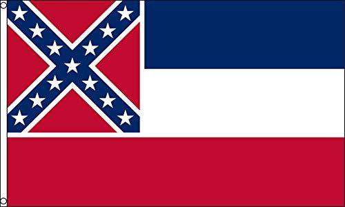 OPJWQN Mississippi-Flagge 3x5, Mississippi-Flaggen 3x5 im Freien, Hausbanner-Ösen aus Super-Polyester, UV-lichtbeständiger Leinwandkopf und doppelt genäht (1 STÜCK)