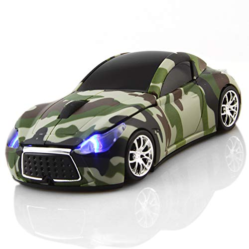 FIRSTMEMORY Wireless Car Mouse 2.4GHz Sport Race Car Shape Mouse Optical Mouse Camouflage Cordless Computer Mice 1600 DPI for Computer PC Laptop Desktop (Green Camo)