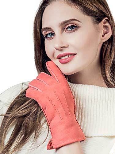 YISEVEN Damen Lammfell Leder Winterhandschuhe aus Shearling Dickes Fellgefüttert Warm Winter Autofahrer LederHandschuhe, Rosa M