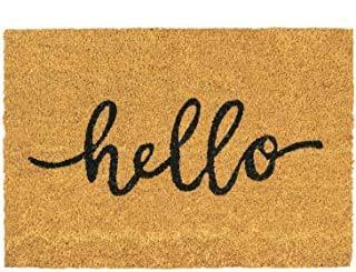 HANGIT Hello Design - Felpudo para puerta de entrada (látex, 40 x 60 cm), color marrón