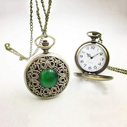 ZHANGYY Reloj de Bolsillo Vine Clamshell Reloj de Cuarzo Día de Diamante Simple Jade Crush Regalo conmemorativo para Hombres y Mujeres Regalo Decorativo para Padre